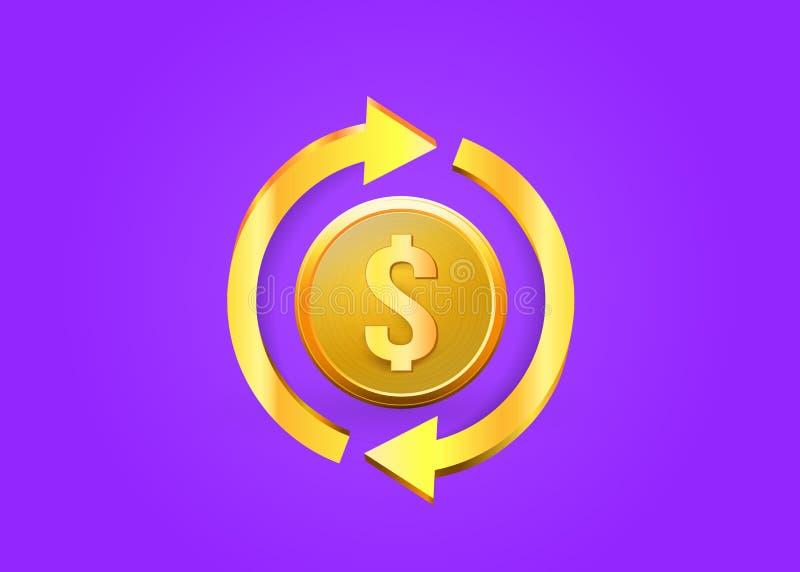 Hintere Ikone des Bargeldes Symbol ist r?ckzahlungs Zeichen einer R?ckerstattung der Dollar Gesch?ft Lokalisierter Aufkleber, Auf stock abbildung