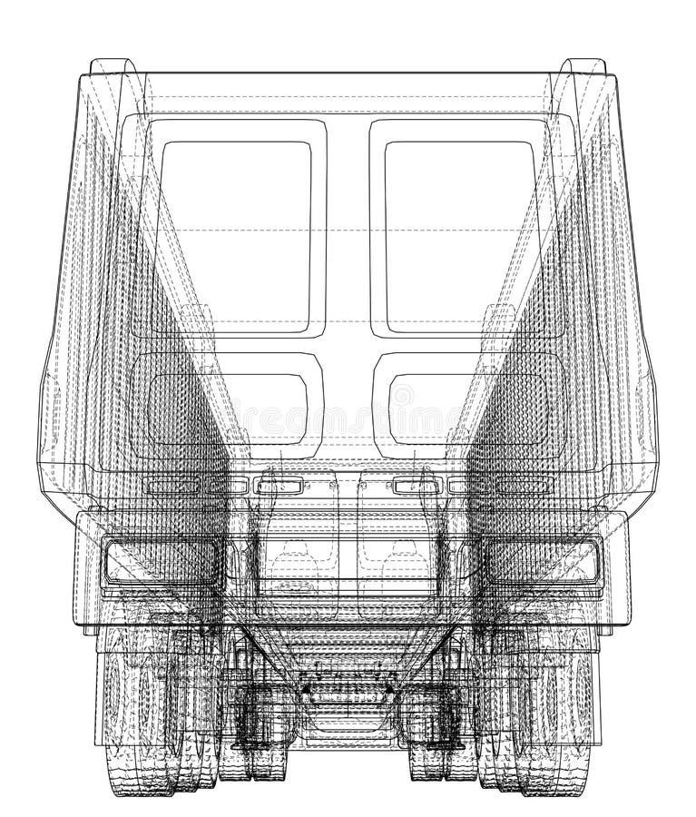 Hinterer Ansicht LKW lokalisiert auf weißem Hintergrund Eurotrucks, das Fahrzeugplan für Unternehmensmarkenidentitätsdesign liefe stock abbildung