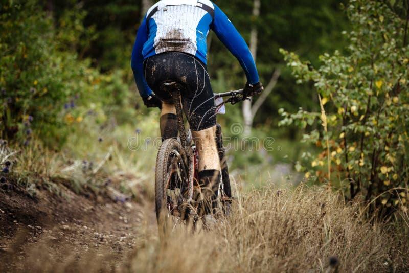 Hinterer Gebirgsreiter auf Fahrrad stockbild