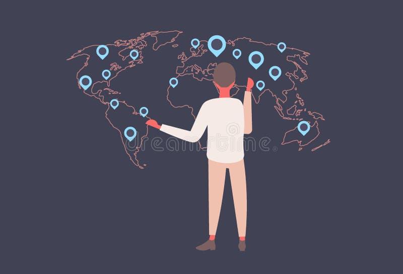 Hinterer Geschäftsmann der hinteren Ansicht, der den Bestimmungsort zeigt das Weltkarte geo Umbau-Lageangabegeschäft Unternehmens lizenzfreie abbildung