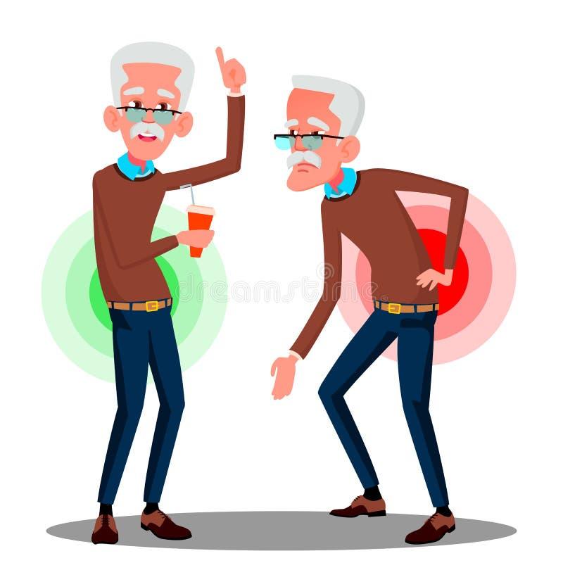Hinterer Schmerz Bent Over Old Man Froms, Ischias-Vektor Lokalisierte Karikaturillustration lizenzfreie abbildung