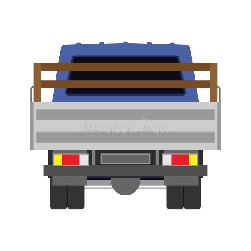Hinteres Ansichtauto der LKW-Vektorikone Lieferung lokalisierter Lastwagenfrachttransport Versandfahrzeugpackwagenwerbung Flache  lizenzfreie abbildung