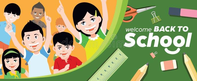 Hinteres Schulfahnen-Konzept mit glücklicher laufender Vektor-Illustration Childern stock abbildung