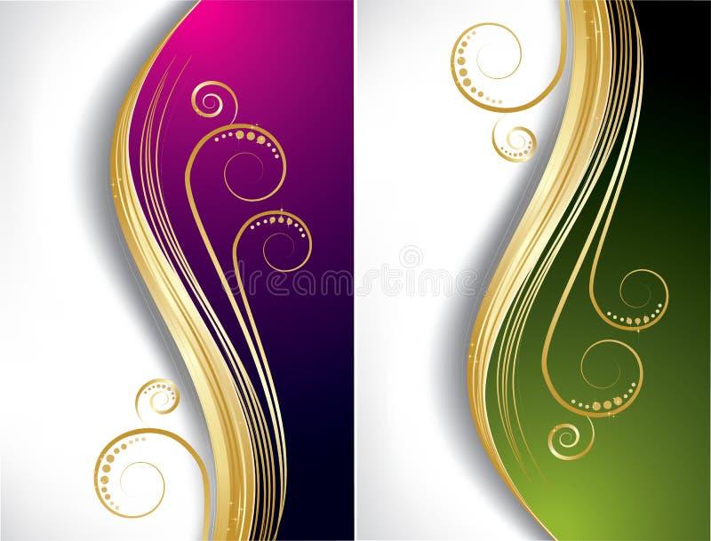 Hintergründe der violetten und grünen Wellen lizenzfreie abbildung