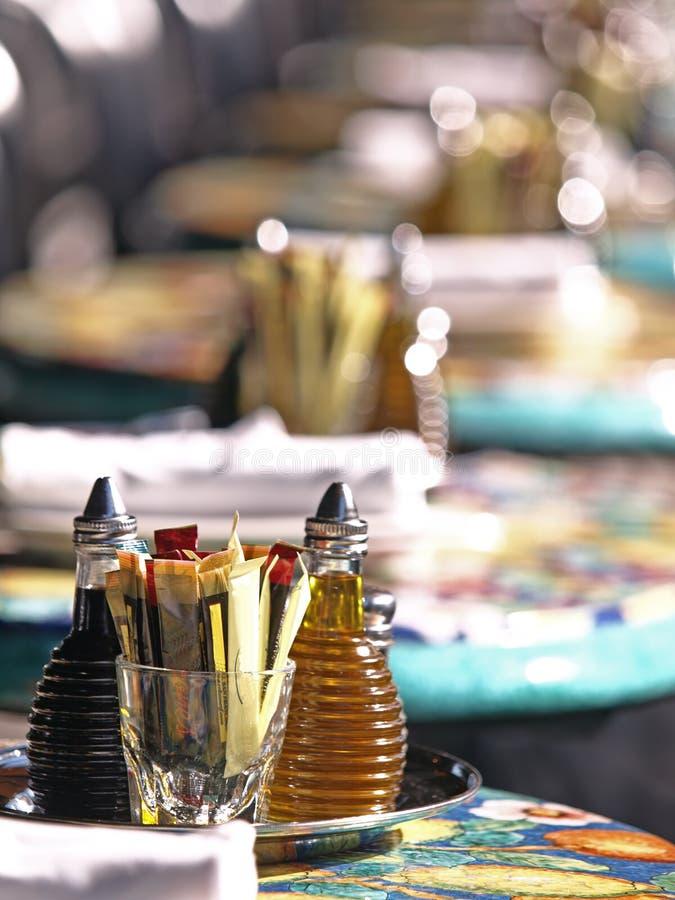 Hintergrund-Abbildung des Würzens auf Gaststätte Tabl lizenzfreies stockfoto