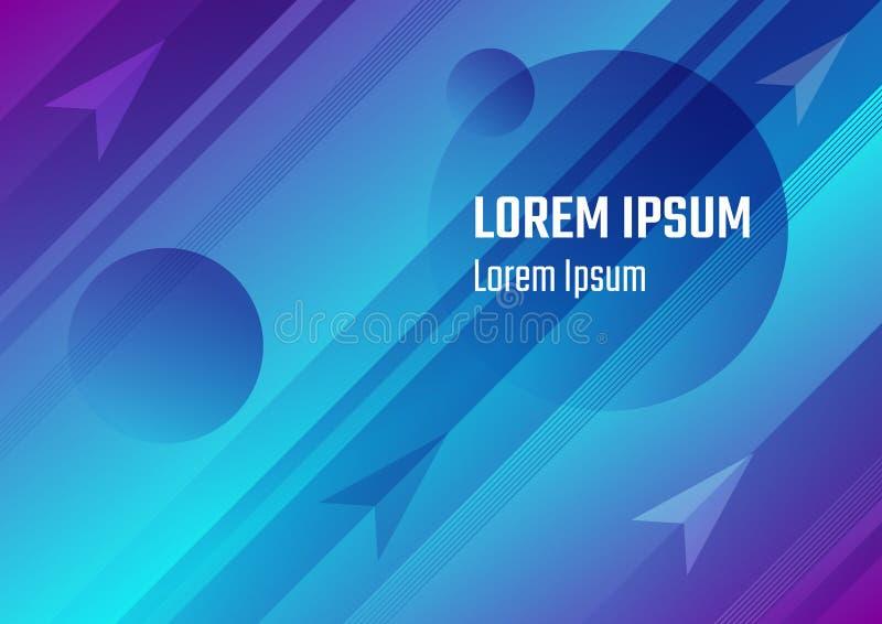 Hintergrund-Abdeckungsentwurf des blauen horizontalen Raumes abstrakter mit Planeten und Pfeilen vektor abbildung