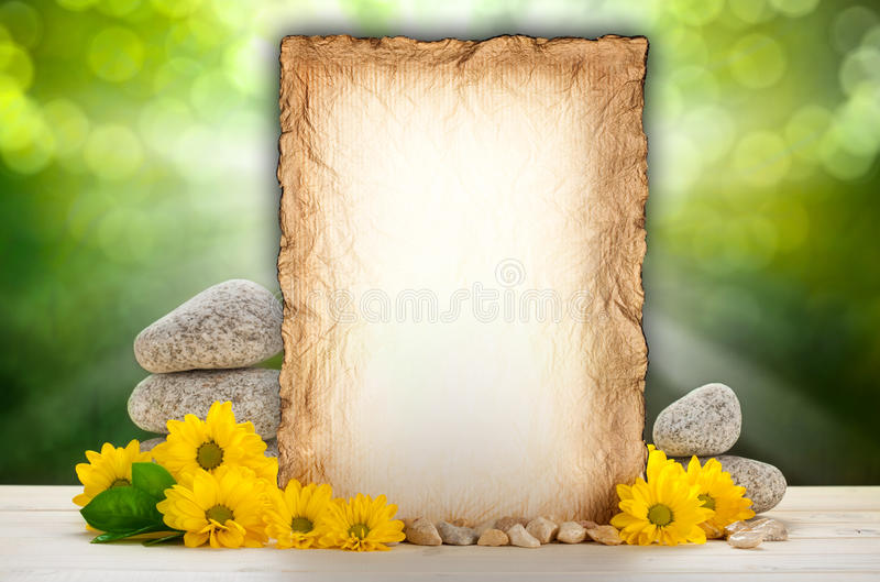 Hintergrund - Blumen und altes Papier lizenzfreies stockfoto