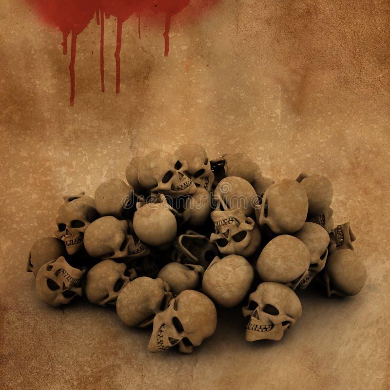 Hintergrund 3D Halloween mit Stapel von Schädeln auf blutigem Schmutz lizenzfreie abbildung