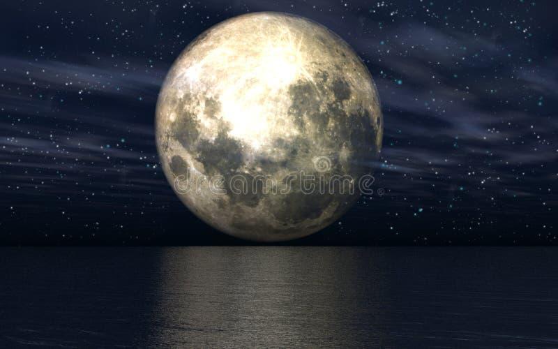 Hintergrund 3D mit Mond über Meer vektor abbildung