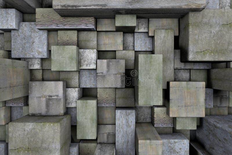Hintergrund 3D von einer Vielzahl von Betonwürfeln stockfotos