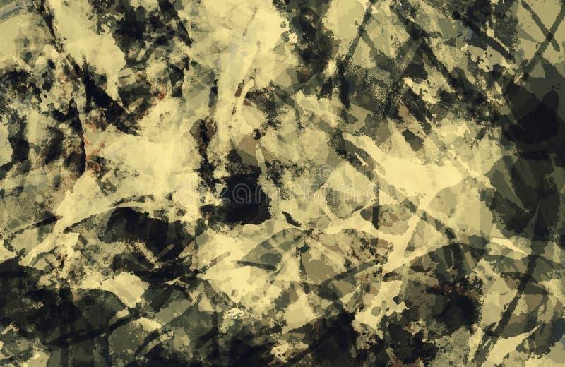Hintergrund der abstrakten Kunst Bunte Sepiaschmutzbeschaffenheit Pinselstriche der Farbe Malen Sie spritzt Moderner Anstrich Zei stock abbildung