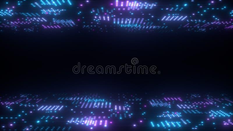 Hintergrund der abstrakten Kunst 3d übertragen, Kreise und Punkte auf der Schwarz-, retrowave- und synthwaveillustration stockfotografie