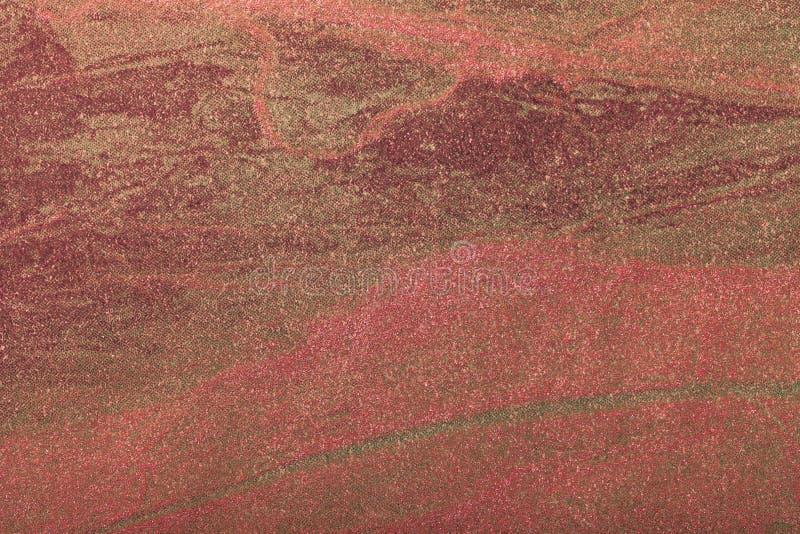 Hintergrund der abstrakten Kunst dunkelrot mit Goldfarbe Mehrfarbenmalerei auf Segeltuch stockbilder
