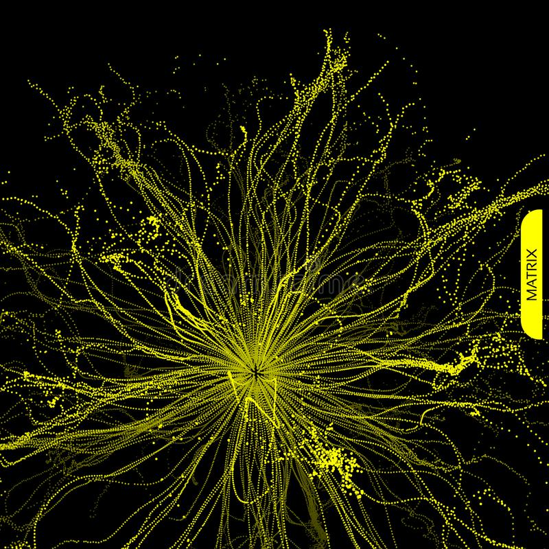 Hintergrund der abstrakten Wissenschaft oder der Technologie Reihe mit dynamischen Partikeln Auch im corel abgehobenen Betrag lizenzfreie abbildung