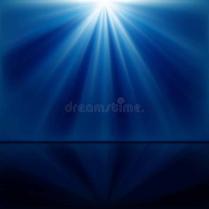 Hintergrund der blauen leuchtenden Strahlen vektor abbildung