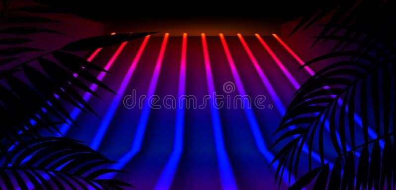 Hintergrund der Dunkelkammer, Tunnel, Korridor, Neonlicht, Lampen, tropische Blätter lizenzfreie abbildung
