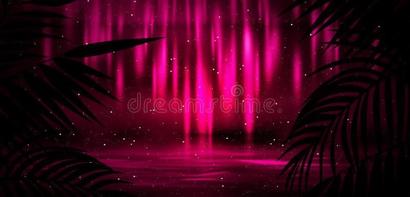 Hintergrund der Dunkelkammer, Tunnel, Korridor, Neonlicht, Lampen, tropische Bl?tter vektor abbildung