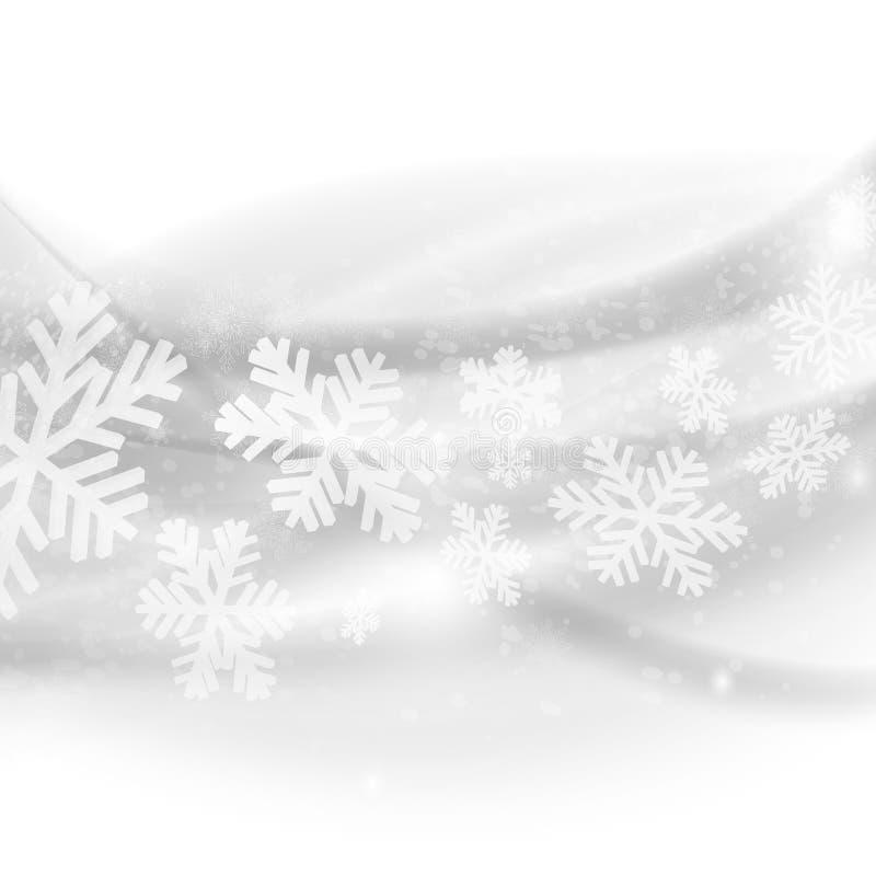 Hintergrund der frohen Weihnachten. Abstrakte hellgraue Wellen mit Schnee lizenzfreie abbildung