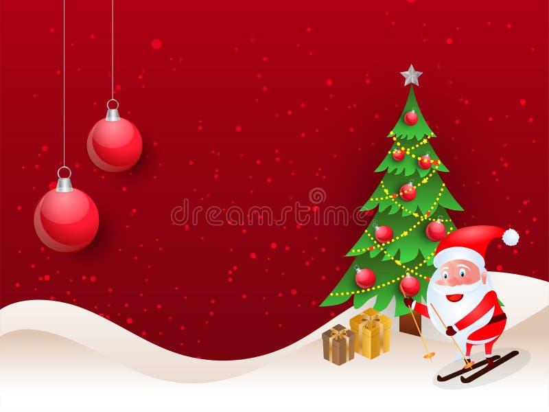 Hintergrund der frohen Weihnachten mit nettem Weihnachtsmann-Reiten auf skat lizenzfreie abbildung