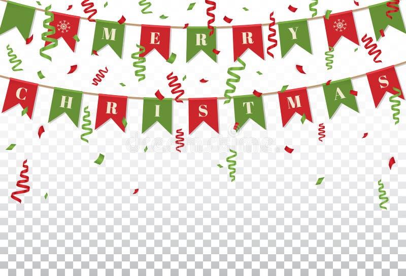 Hintergrund der frohen Weihnachten mit Weihnachtsflaggenflaggen und Konfettis in den traditionellen Farben Helle Weihnachtsgirlan lizenzfreie abbildung