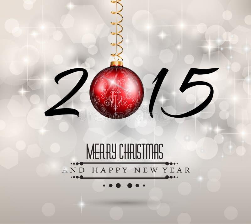 Hintergrund der frohen Weihnachten und des glücklichen neuen Jahres vektor abbildung