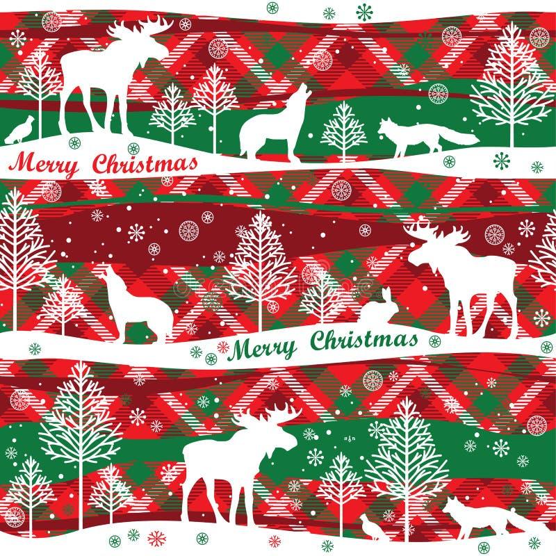 Hintergrund der frohen Weihnachten und des glücklichen neuen Jahres Nahtloses Muster lizenzfreie abbildung