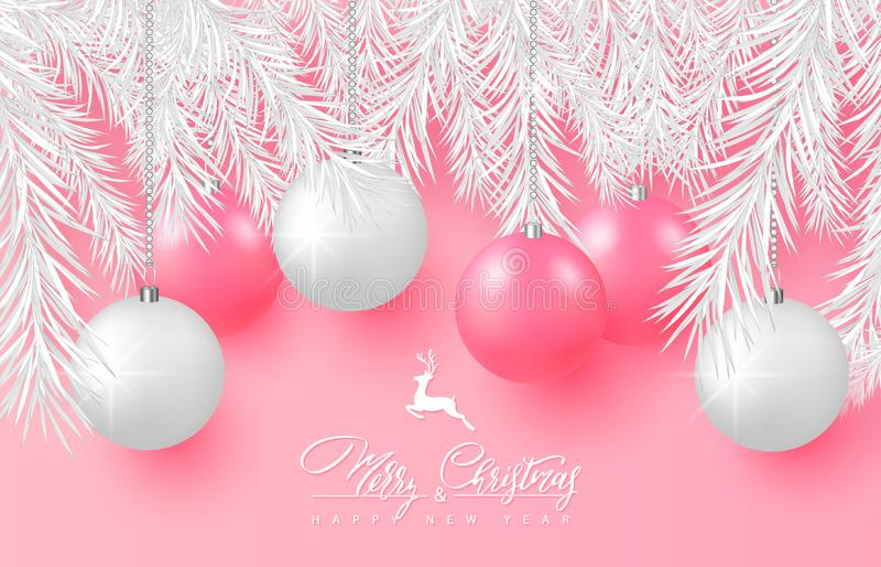 2019 Hintergrund der frohen Weihnachten und des guten Rutsch ins Neue Jahr für Feiertagsgrußkarte, Plakat, Fahne Schöne Baumbälle vektor abbildung