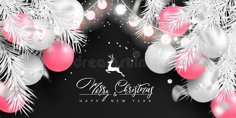 2019 Hintergrund der frohen Weihnachten und des guten Rutsch ins Neue Jahr für Feiertagsgrußkarte, Plakat, Fahne Schöne Baumbälle stock abbildung