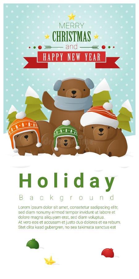 Hintergrund der frohen Weihnachten und des guten Rutsch ins Neue Jahr mit Bärenfamilie lizenzfreie abbildung