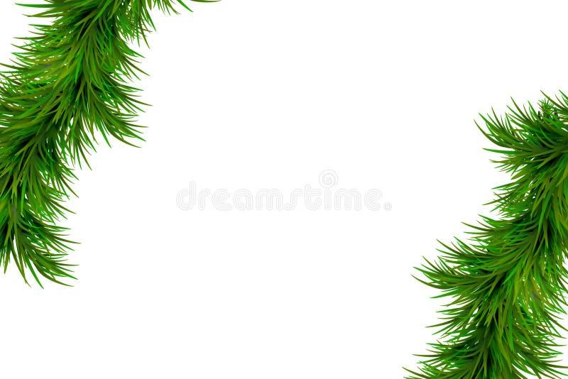 Hintergrund der frohen Weihnachten und des guten Rutsch ins Neue Jahr mit den Tannenzweigen lokalisiert auf weißem Hintergrund Mo stockfoto