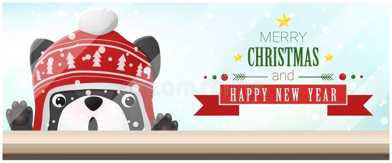 Hintergrund der frohen Weihnachten und des guten Rutsch ins Neue Jahr mit der französischen Bulldogge, die leere Tischplatte betr stock abbildung