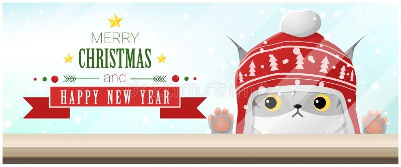 Hintergrund der frohen Weihnachten und des guten Rutsch ins Neue Jahr mit der Katze, die leere Tischplatte betrachtet stock abbildung