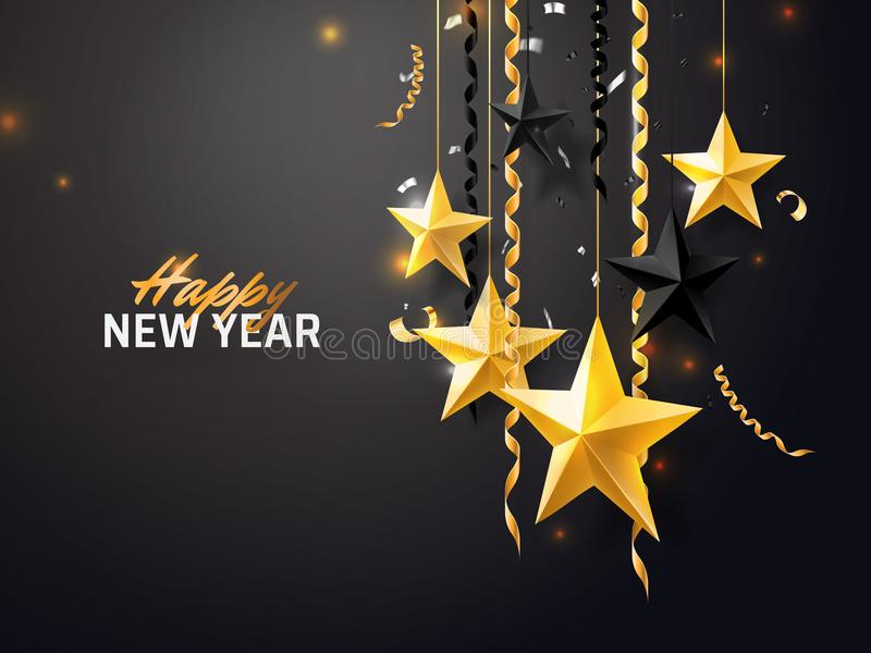 Hintergrund der frohen Weihnachten und des neuen Jahres 2018 für Feiertagsgrußkarte, Einladung, Parteiflieger, Plakat, Fahne gold lizenzfreie abbildung