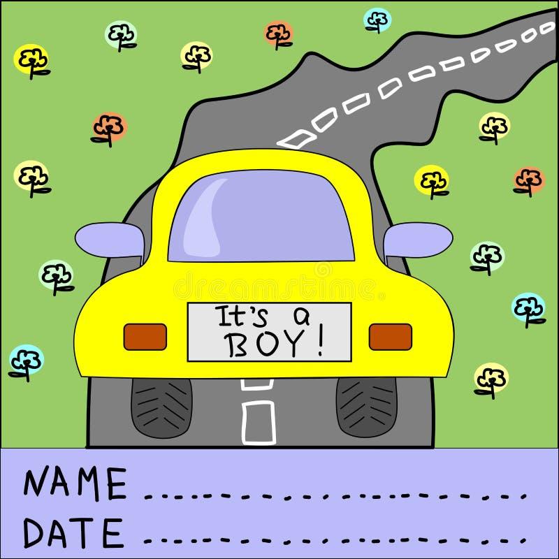 Hintergrund der Kind s mit Auto und Wörtern es s ein Junge lizenzfreie abbildung