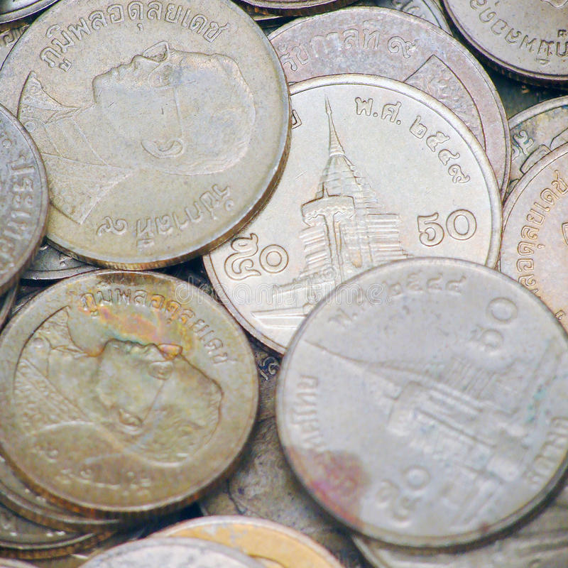 Hintergrund der Münzen von thailändischem lizenzfreies stockfoto