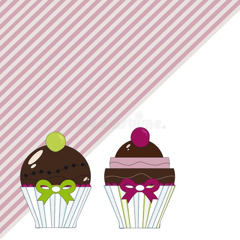 Hintergrund der Schokoladenkleinen kuchen lizenzfreie abbildung