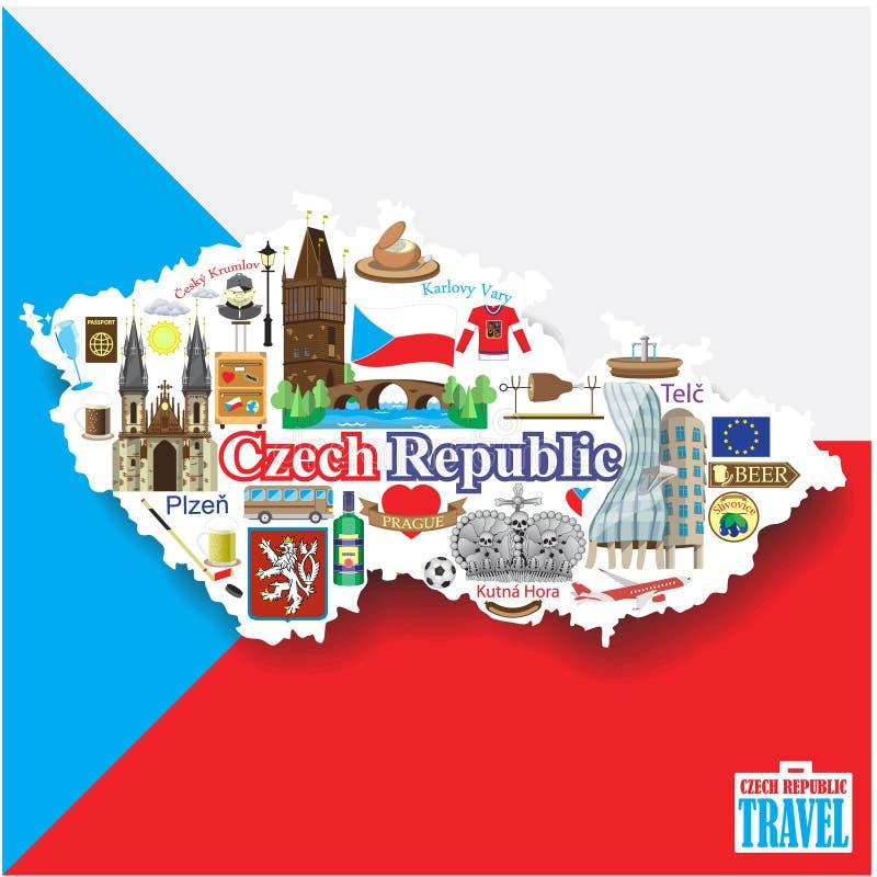 Hintergrund der Tschechischen Republik Stellen Sie Vektormarksteinikonen und -symbole in der Form der Karte ein stock abbildung