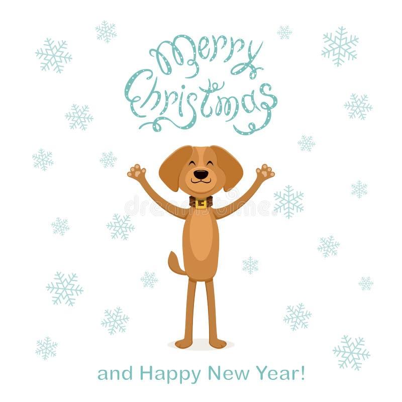 Hintergrund der weißen Weihnacht mit glücklichem Hund und Schneeflocken lizenzfreie abbildung