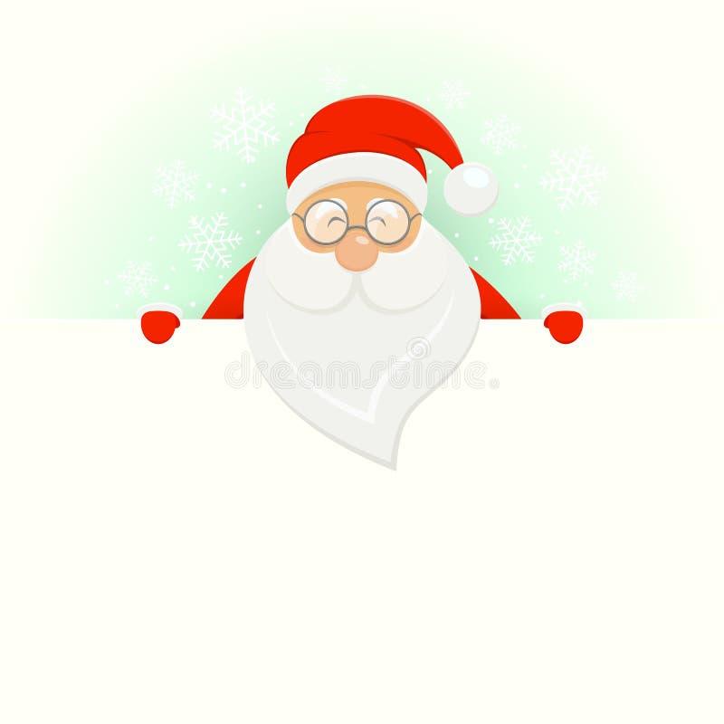 Hintergrund der weißen Weihnacht mit glücklicher Sankt vektor abbildung