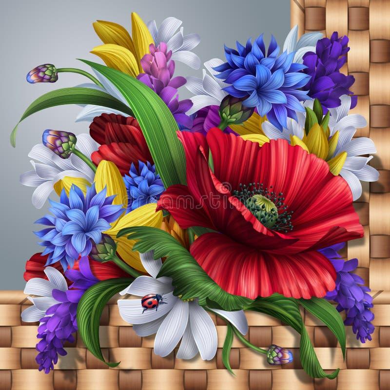 Hintergrund der wilden Blumen; Mohnblume, Kornblume, Gänseblümchen, Lavendel lizenzfreie abbildung