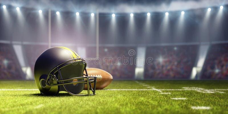 Hintergrund des amerikanischen Fußballs mit Ball und schwarzem Sturzhelm vektor abbildung
