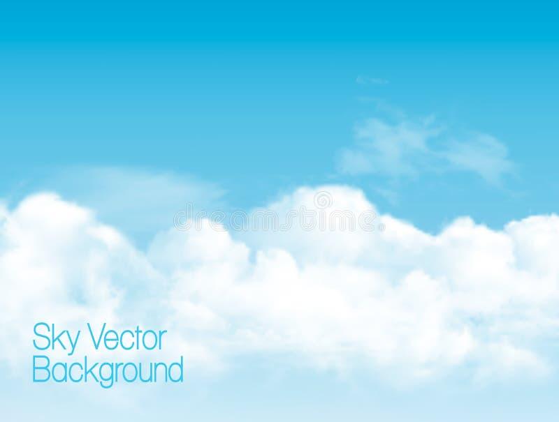 Hintergrund des blauen Himmels mit weißen transparenten Wolken vektor abbildung