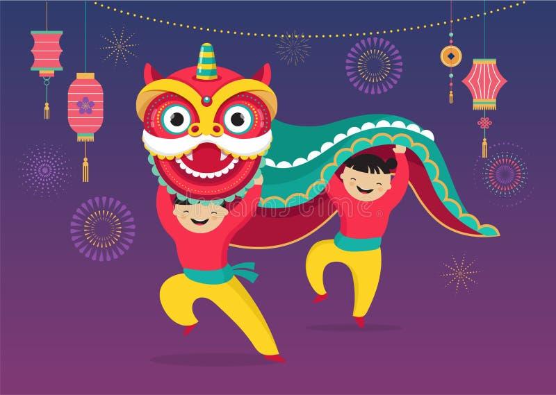 Hintergrund des Chinesischen Neujahrsfests, Grußkarte mit einem Löwetanz, roter Drachecharakter vektor abbildung