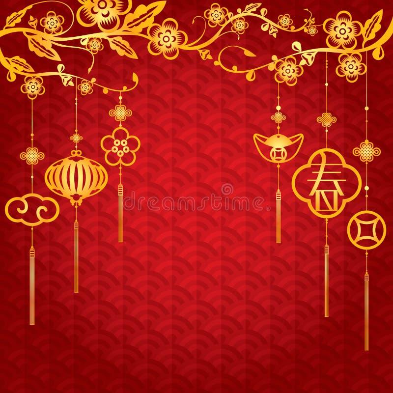 Hintergrund des Chinesischen Neujahrsfests mit goldener Dekoration vektor abbildung