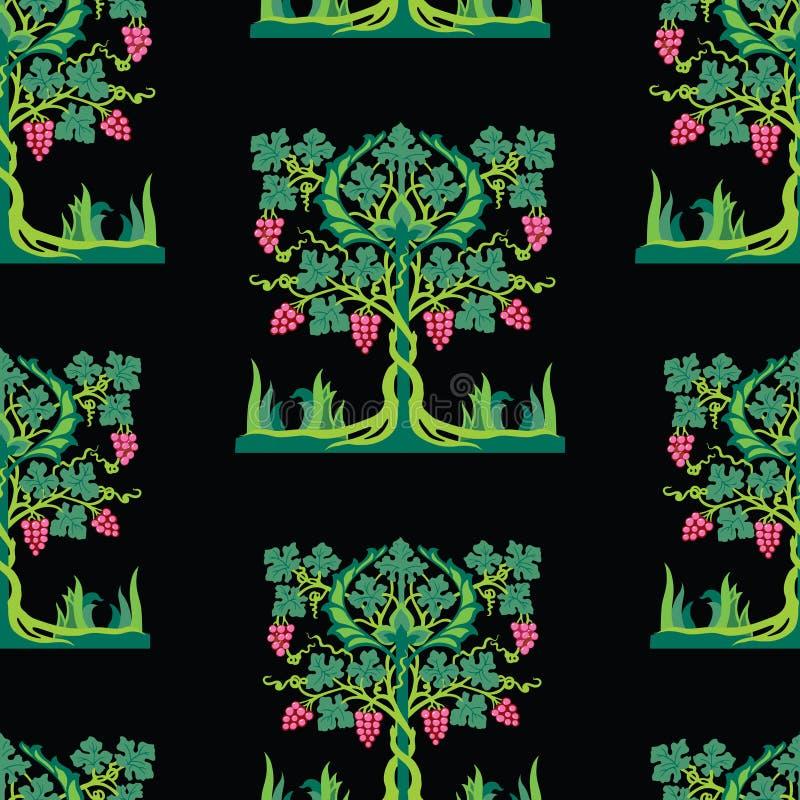 Hintergrund des dekorativen Rebbaums mit reifer Traube stock abbildung