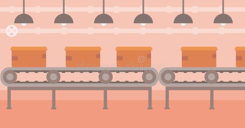 Hintergrund des Förderbandes mit Pappschachteln stock abbildung