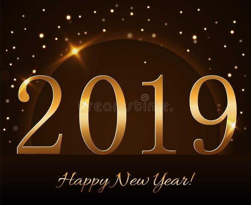 Hintergrund des glücklichen neuen Jahres Magischer Goldregen und -kugel Goldene Nr. 2019 auf Horizont Weihnachtsplanetendesign le stock abbildung