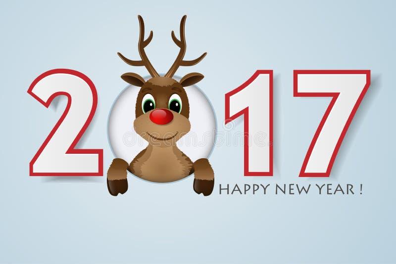 Hintergrund des glücklichen neuen Jahres Ren mit roter Wekzeugspritze Auch im corel abgehobenen Betrag vektor abbildung
