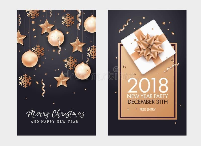 Hintergrund des glücklichen neuen Jahres und der frohen Weihnachten stock abbildung