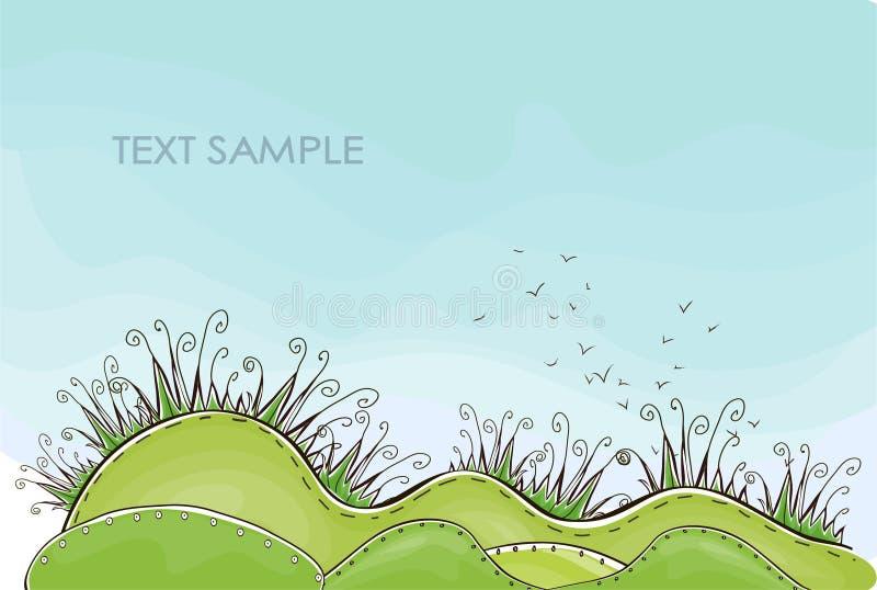 Hintergrund des grünen Grases Glückliche Weltsammlung lizenzfreie abbildung